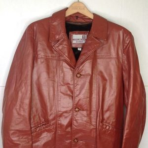 Vintage Brown Leather Men's 3/4 Trench Coat